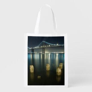 Pilings along the Embarcadero, San Francisco Reusable Grocery Bag