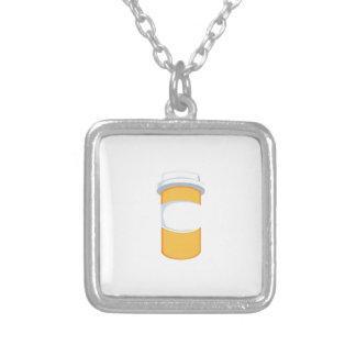 Pill Bottle Square Pendant Necklace