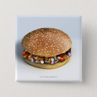 Pill Burger 15 Cm Square Badge