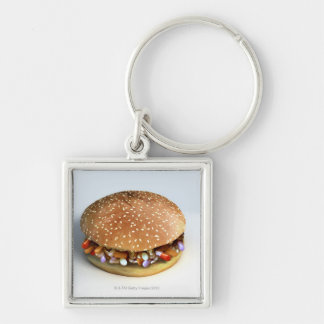 Pill Burger Silver-Colored Square Key Ring