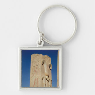 Pillar decorated with stylised papyrus plants Silver-Colored square key ring