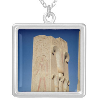 Pillar decorated with stylised papyrus plants silver plated necklace