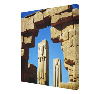 Pillars decorated with stylised lotus canvas print