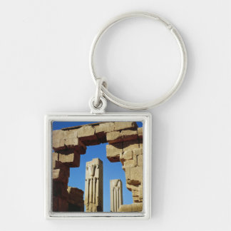 Pillars decorated with stylised lotus Silver-Colored square key ring