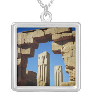 Pillars decorated with stylised lotus silver plated necklace