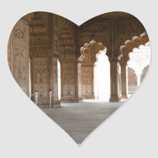 Pillars inside Red Fort in India Heart Stickers