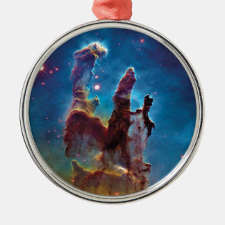 Pillars of Creation M16 Eagle Nebula Space Photo Silver-Colored Round Decoration