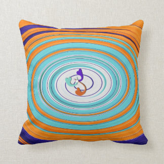 Pillow - ART  White, Teal, Purple, Orange Heart