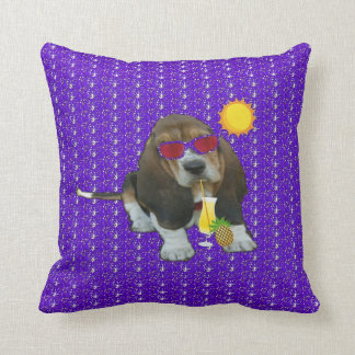 Pillow Baby Basset Hound Summer Time Throw Cushion