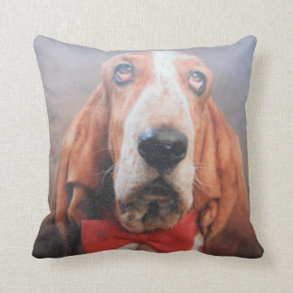 Pillow Basset Hound Red Bow Tie Red Back Cushion