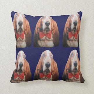 Pillow Basset Hounds, Blue Back Cushion