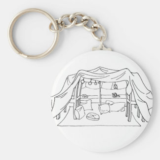 Pillow/Blanket Fort Basic Round Button Key Ring