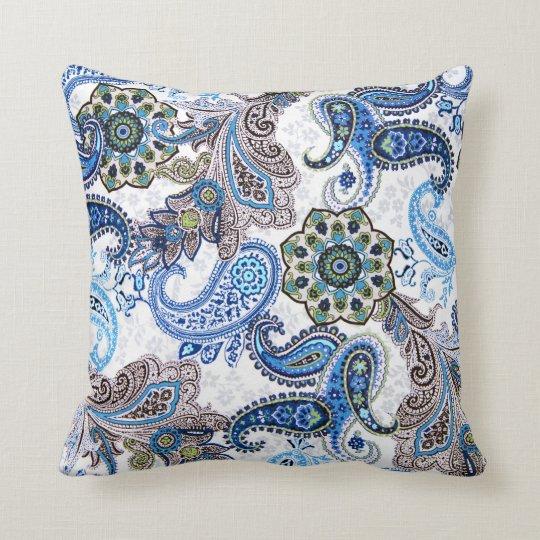 Pillow-blue paisley cushion