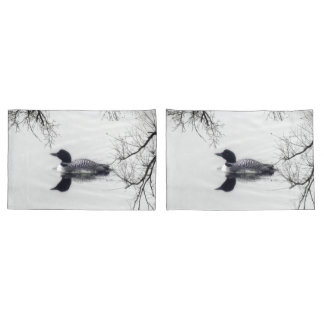 pillow cases  Black and white loon on a lake