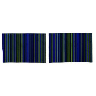 pillow cases Retro stripe lime green blue