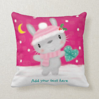 ♥ PILLOW CUSHION ♥ Cute Christmas bunny rabbit