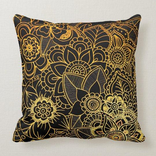 Pillow Floral Doodle Gold G523