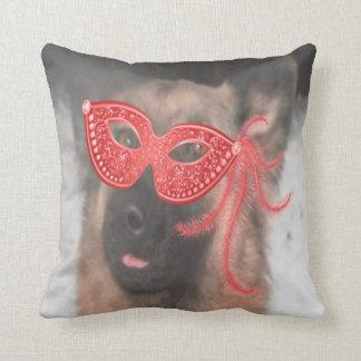 Pillow German Shepherd Mardi Gras Mask Red Cushion