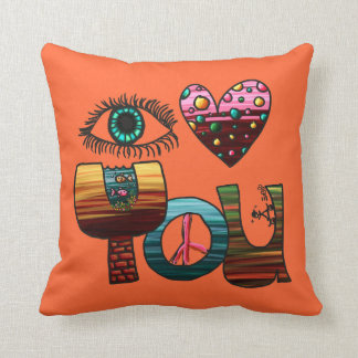 Pillow I Love You Doodle Cute Fun Colorful
