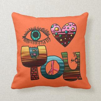 Pillow, I Love You Doodle, Cute Fun Colorful Cushion