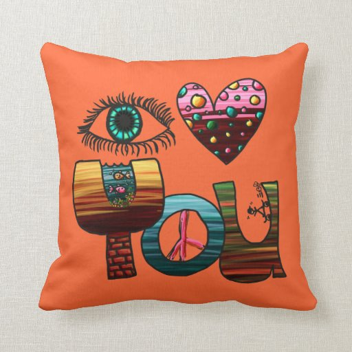 Pillow, I Love You Doodle, Cute Fun Colorful