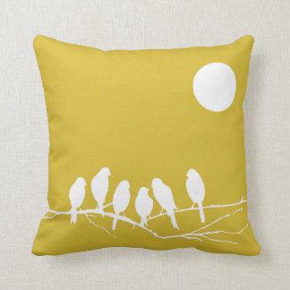Pillow in Freesia Yellow Bird Print Cushions