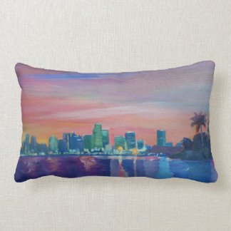 Pillow of Miami Skyline Silhouette & Neon Skyline