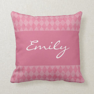 Pillow, Pink Argyle Custom Name Personalized Cushion