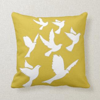 Pillow with Birds on Freesia Yellow Throw Cushion