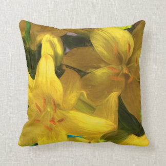 Pillow with Painted Yellow Lilies