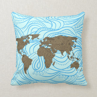 Pillow with world painted map