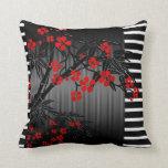 Pillows Asian Black Red Bamboo Blossom Cushion