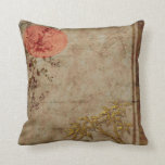 Pillows Asian Rustic Gold Red Bamboo Blossom Cushions