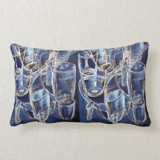 Pillows with glasses in blue