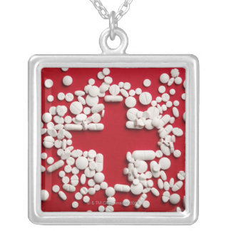 Pills Cross Silver Plated Necklace