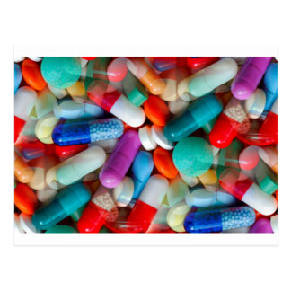 pills drugs postcard