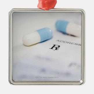 Pills on written prescription Silver-Colored square decoration