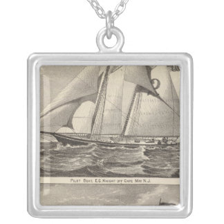 Pilot boats EG Knight and Whilldin Silver Plated Necklace