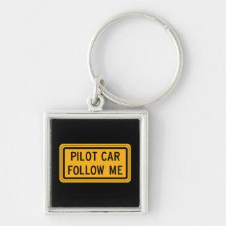 Pilot Car Follow Me Silver-Colored Square Key Ring