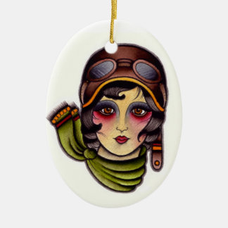 Pilot girl christmas ornament