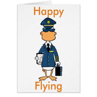 Pilot Humor Happy Flying Cartoon Card