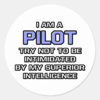 Pilot Joke ... Superior Intelligence Round Sticker