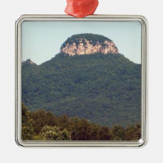 Pilot Mountain - North Carolina Silver-Colored Square Decoration