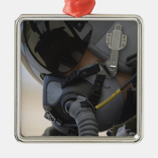 Pilot sits in his A-10 Thunderbolt II Square Metal Christmas Ornament