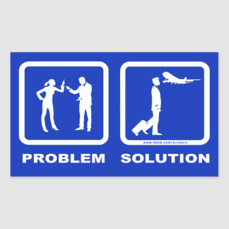 Pilot Wife Plane Problem Solution Rectangular Sticker