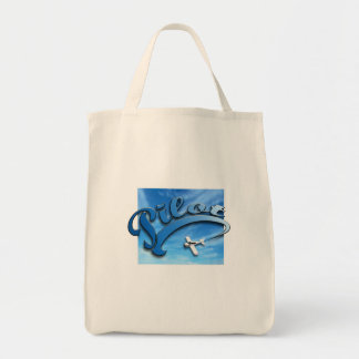 Pilot with white airplane Bag. Tote Bag