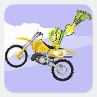 Piloto de Motocross volando con su moto Square Sticker