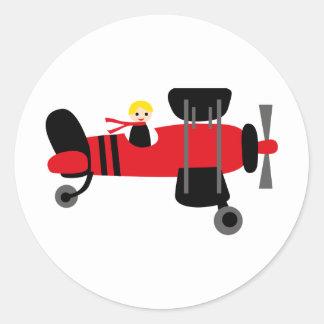 PilotRed4 Classic Round Sticker