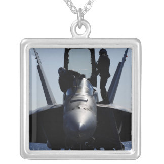 Pilots conducts a pre-flight inspection silver plated necklace