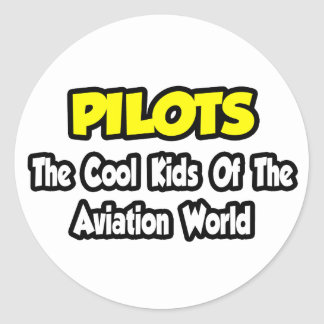 Pilots...Cool Kids of Aviation World Round Sticker